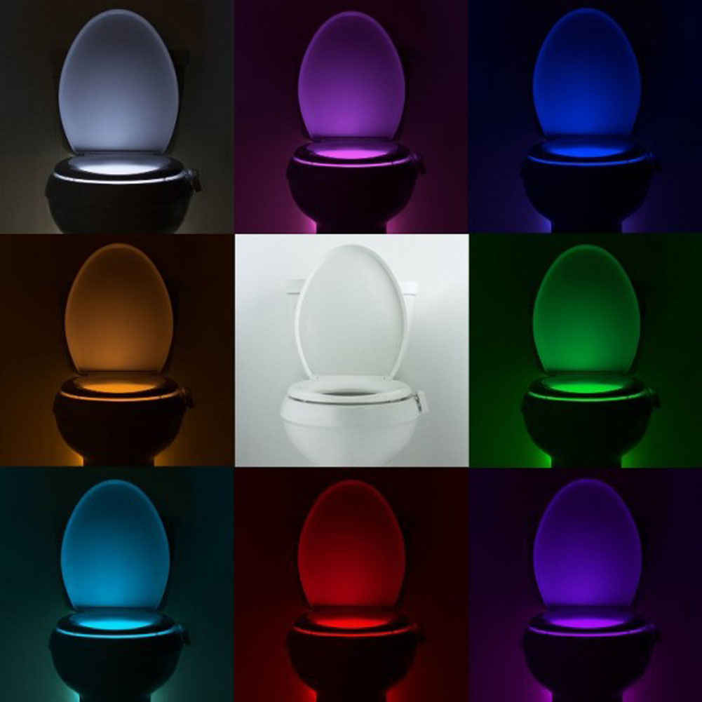 1 pcs Smart Activated Sensor Toilet Night light Bowl Bathroom LED Emergency Light 8 Color Human Induction Lamp Color Radomly