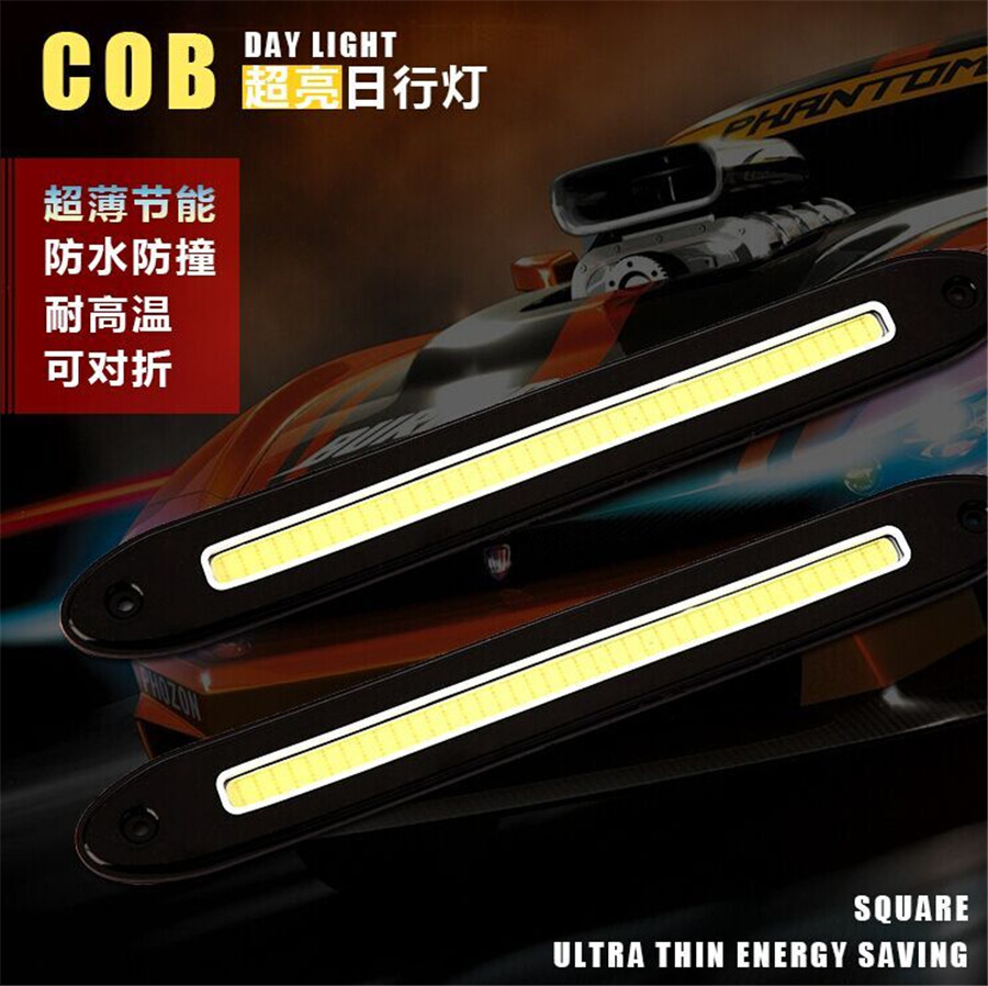 2Pcs Car LED COB DRL Fog Lights Flexible Silicone IP67 Daytime Running Lights Waterproof Led Cool White DC12V For Mazda Suzuki flexible bandable straight line cob drl daytime running lights dc12v 16w high power white e4 waterproof car fog lights