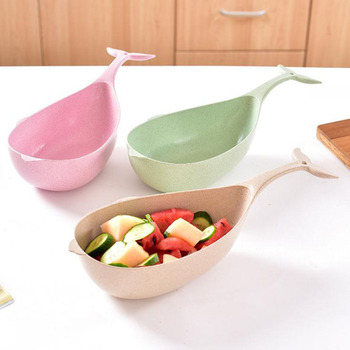 Wheat Stalk Whale Shape Salad Fruit Plate Simple Color Simple Fashion Multi functional Long Tail Meal