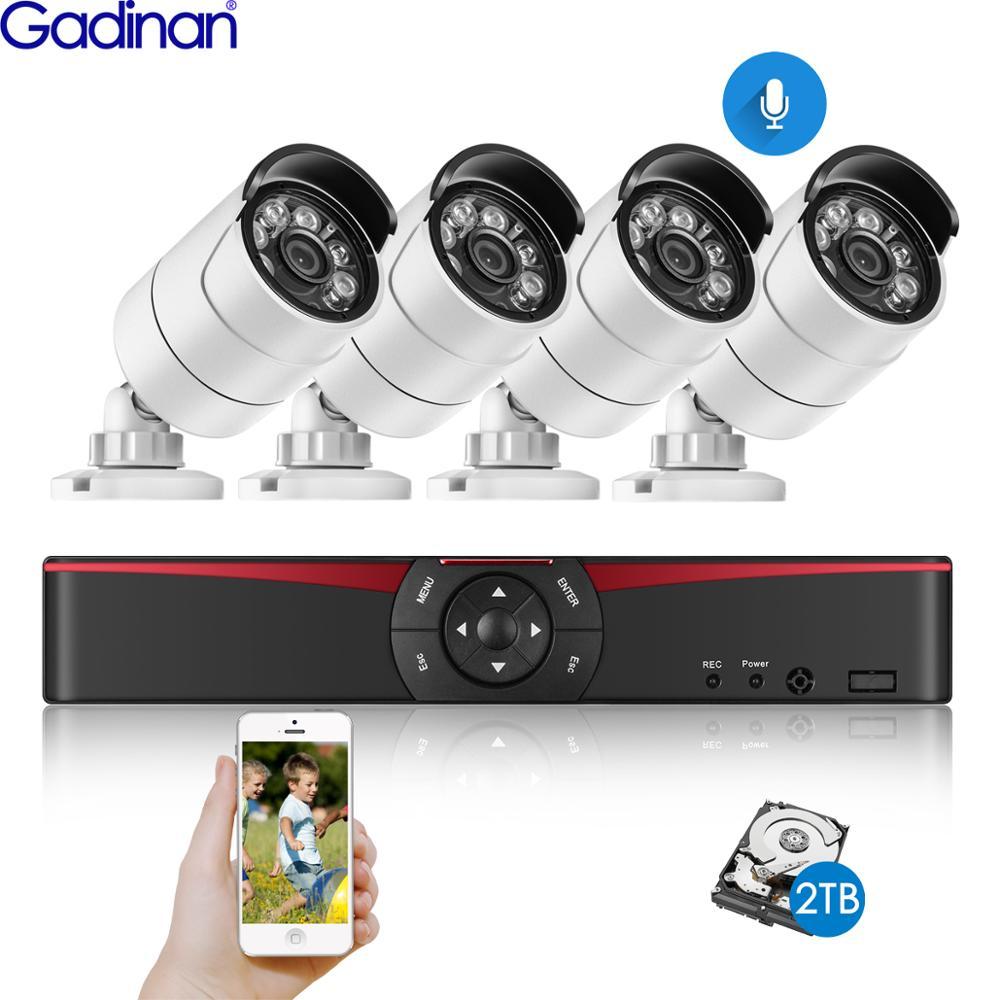 Gadinan 4ch 5.0mp poe nvr kit h.265 cctv sistema de segurança 5mp 4mp à prova dwaterproof água de áudio mic câmera ip ao ar livre vídeo vigilância conjunto