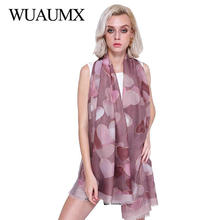Wuaumx NEW Foulard Femme Autumn Winter Scarf Women Heart Pattern Satin Scarfs Hijab Large Cotton Linen Scarves For Female Shawls