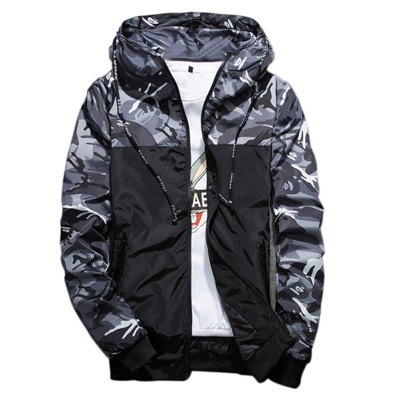 Autumn Winter Men Camouflage Jackets Male Hoodie Thin Windbreaker Lightweight Boy School Style Wear Coat