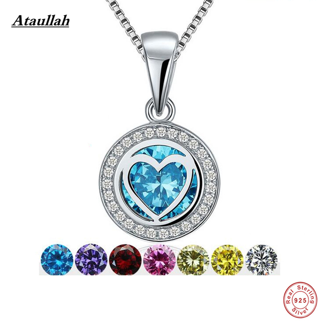 Ataullah DIY 7 Color Crystal 925 Sterling Silver Women Pendants Charms Jewelry Necklaces & Pendants Silver 925 Jewelry SWN005-1