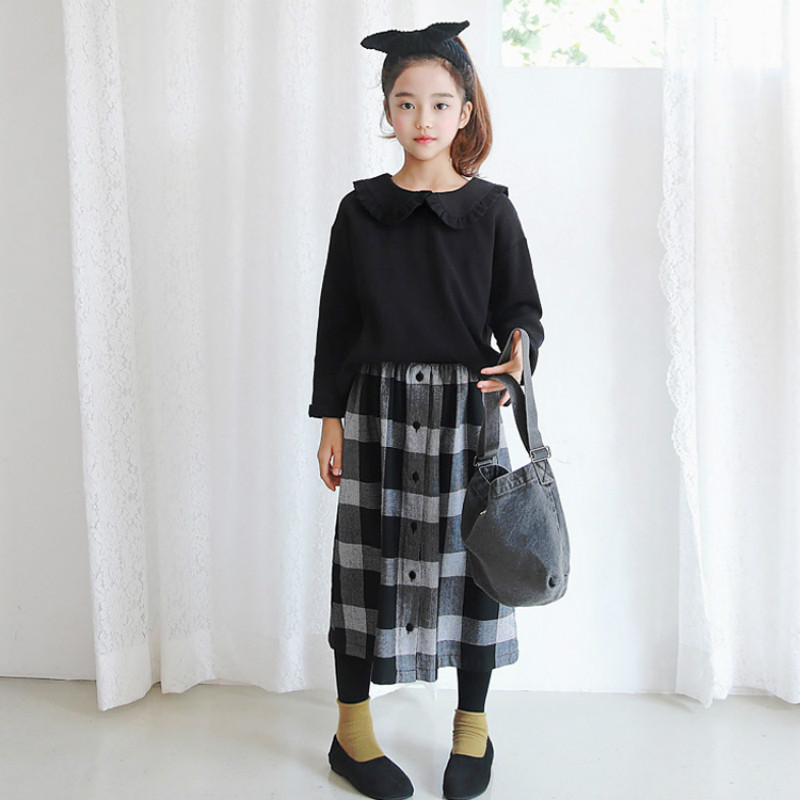2018 New Girl Plaid Skirt Retro Black and White Children Skirt Simple Fashion Baby Pleated Skirt Toddler Clothes Casual, #3219 plaid pleated cami dress