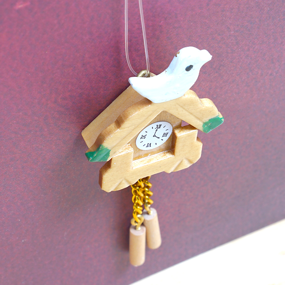 Miniature 1:12 Dolls House Furniture Mini Bird Wood Clock Dollhouse Accessories