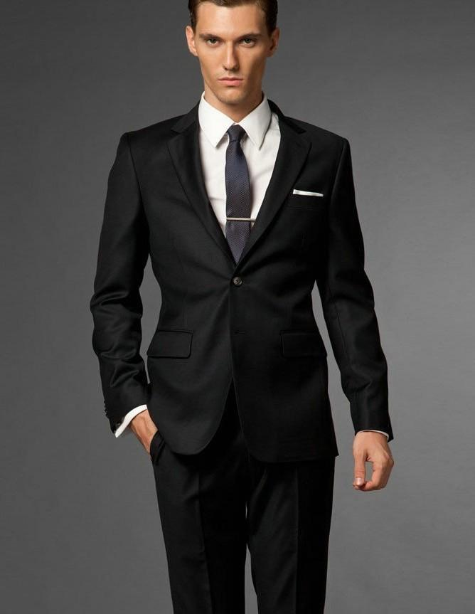 New Arrival Classic Black Wedding Suits For Men Notched Lapel ...