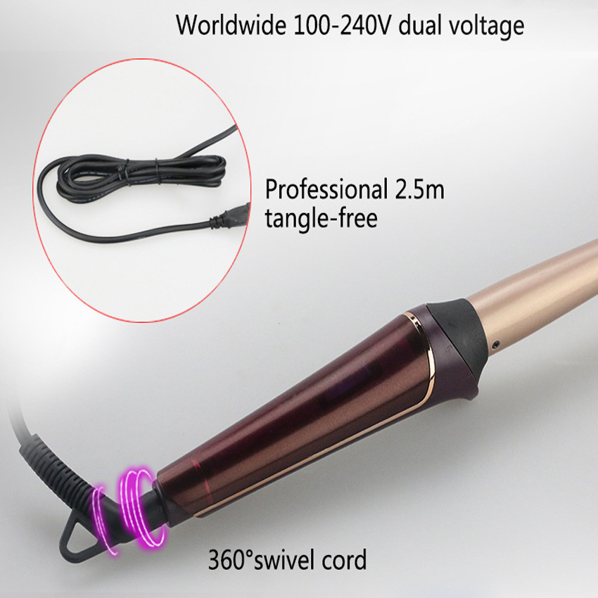 curlers conical curling iron single tube ceramic glaze pear flower cone electric hair curly hair : 110-240 - v Free Shipping