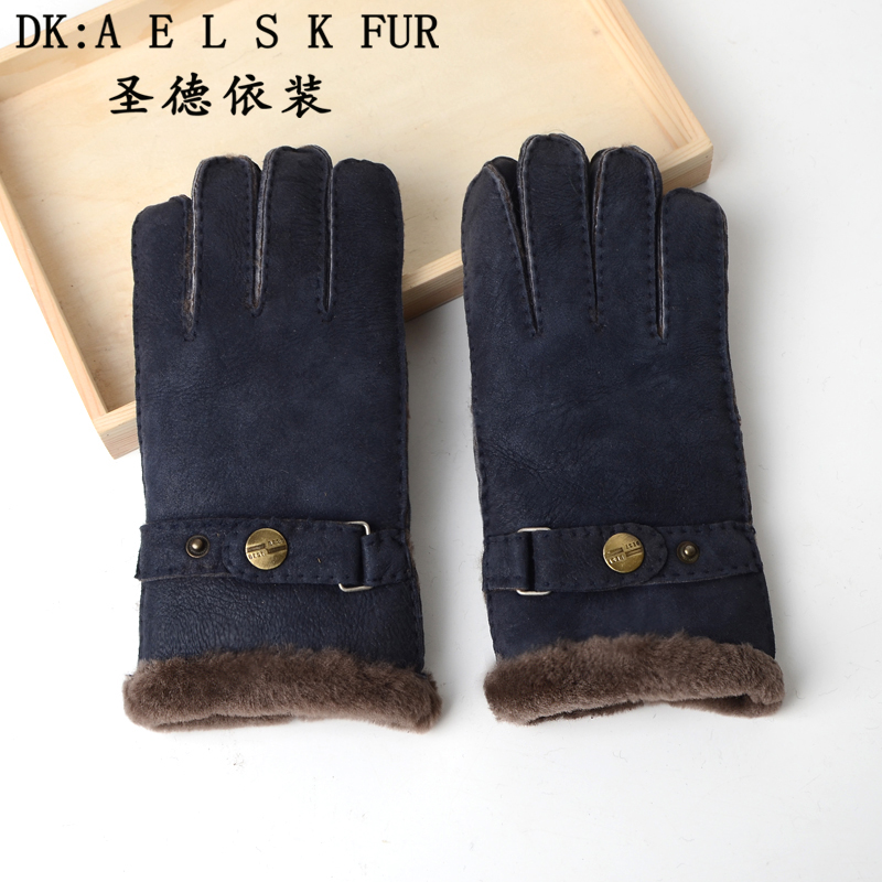 Men's Style Gloves Navy Blue Buckle Good Hair Warm Hand Wear Wear Leather Gloves Travel Preferred Products