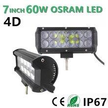 1pcs 60W 7″Inch LED Work Light Bar for Offroad SUV ATV UTV Wagon 4WD 4X4 Led Roof Light Bar fog Lamp Headlight 12V 24V