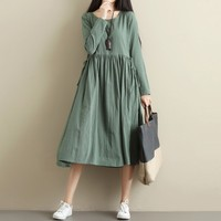 KANCOOLD dresses for women autumn Fashion 2018 Long Sleeve Solid O Neck Loose Plus Size Mid Elastic Party Evening PAUGT1