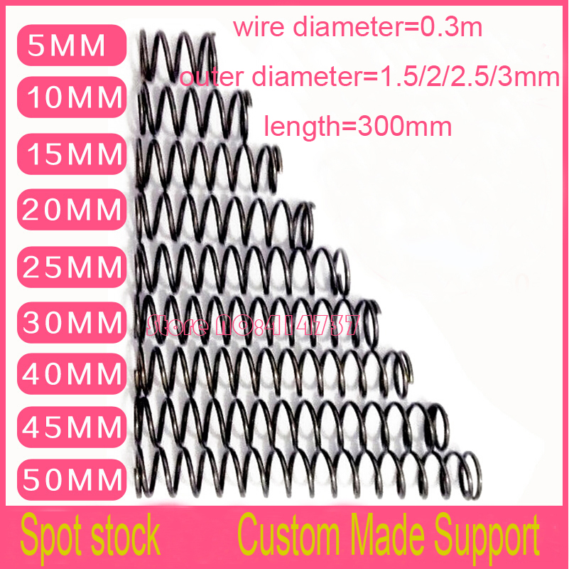 5pcs 0.3*1.5/2/2.5/3*300mm series spot spring 0.3mm wire compression pressure springs spring OD=1.5/2/2.5/3mm