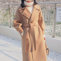 2018 Winter Long Coat Women Outwear Wide Waisted Parka Trench Oversize Sashes High Quality Long Chic Outwear Brown Wool Coat