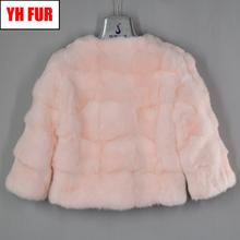 2019 New Style Short Real Genuine Rabbit Fur Coat Women Fashion Natural Real Rabbit Fur Jacket Quality Real Rabbit Fur Overcoat cheap Double-faced Fur Real Fur YH-FUR-4297 STANDARD REGULAR Full Pelt O-Neck Nine Quarter Single Breasted Solid Casual Slim 100 real natural rabbit fur