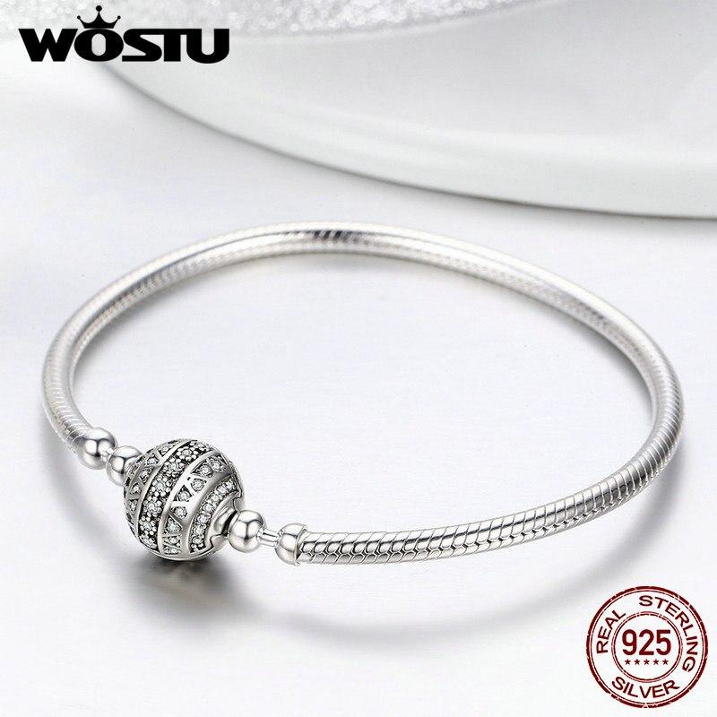Image 4 - WOSTU Real 925 Sterling Silver Sparkling Ball Bracelet
