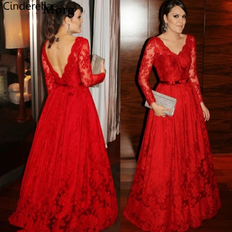 Cinderella Red V-Neck Backless Long Sleeves Long A-Line Soft Tulle Lace Applique   Evening     Dresses   vestidos de fiesta de noche
