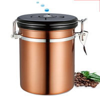 1.5L Airtight Stainless Steel Coffee Bean Container Gound With CO2 Exhaust Valve Time Record Tea Container