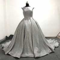 Free Shipping Sexy Fashion O Neck Chapel Train Dress Sequin Lace Silver Wedding Dresses Wedding Gown