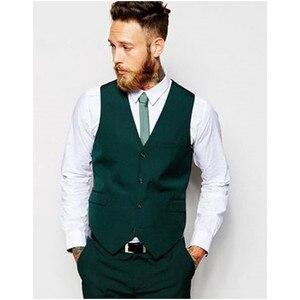Image 2 - Customized Groomsmen Groom Tuxedos Dark Green Men Suits 2020 Wedding Best Man Blazers Smart Casual Men Suits (Jacket+Pants+Vest)