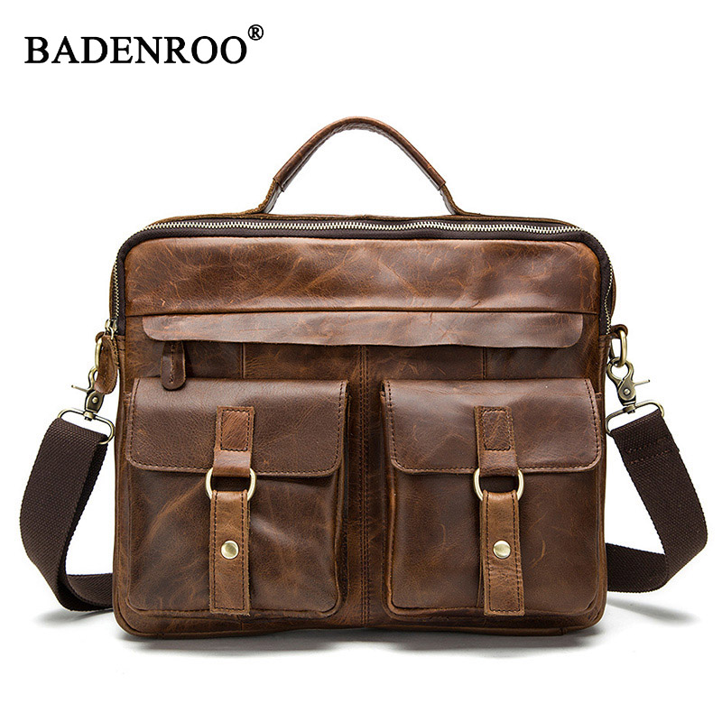 Men Genuine leather Handbag men Briefcase Crazy Horse Cowhide real leather Men Crossbody Shoulder bag High quality 2size 12color joyir men briefcase real leather handbag crazy horse genuine leather male business retro messenger shoulder bag for men mandbag
