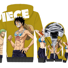 Anime One Piece 3D Print Hoodie Men Luffy Zoro Nami Hooded Sweatshirt Winter Thick Fleece Zip up Jacket The Pirate King Coat 5XL