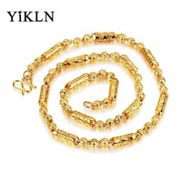YiKLN New Gold Color Chains Necklace For Men Accessories Prayer Beads Necklace Fashion Copper Thick Style