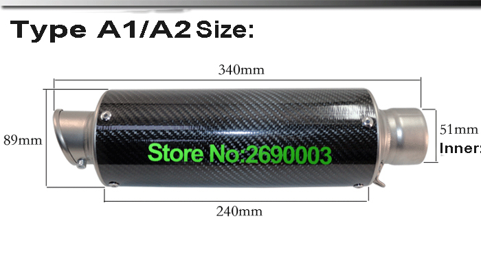 ID 51mm Motorcycle Modified Carbon Fiber exhaust pipe high temperature muffler leovince with removable db killer and Adapter free shipping carbon fiber id 61mm motorcycle exhaust pipe with laser marking exhaust for large displacement motorcycle muffler