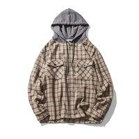 Loldeal Men's Long Sleeve Button Down Chest Pocket Checkered Plaid Flannel Shirt Hip hop Plaid Hooded Shirt Long Sleeve