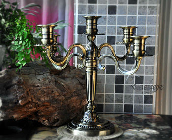retro classic antique tin 5 arm metal candelabra candlesticks candle holder  lantern decoration for home ZT165