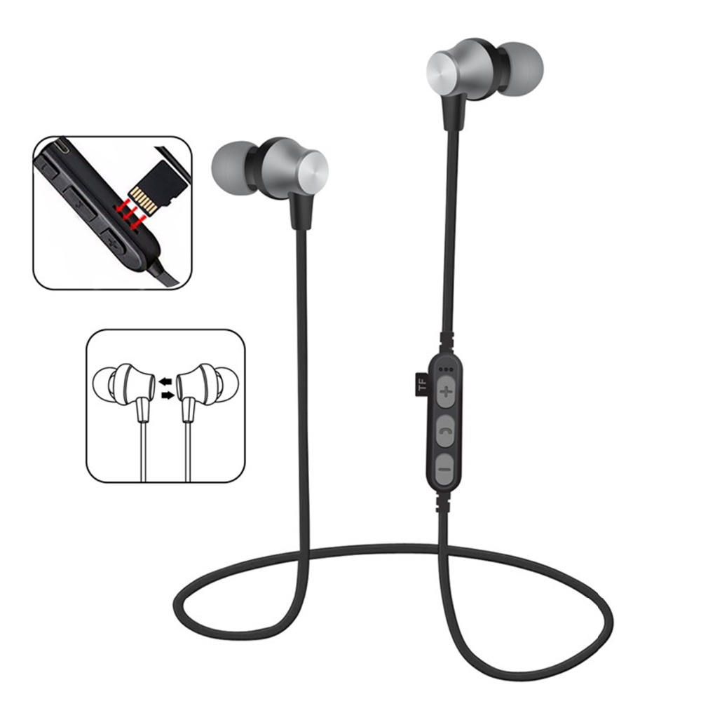 Wireless <font><b>Bluetooth</b></font> Kopfhörer MS-T2 Magnetische Lauf Headset Mic TF MP3 Flash Speicher <font><b>SD</b></font> Karte Headset Für iPhone/Xiaomi/ samsung image