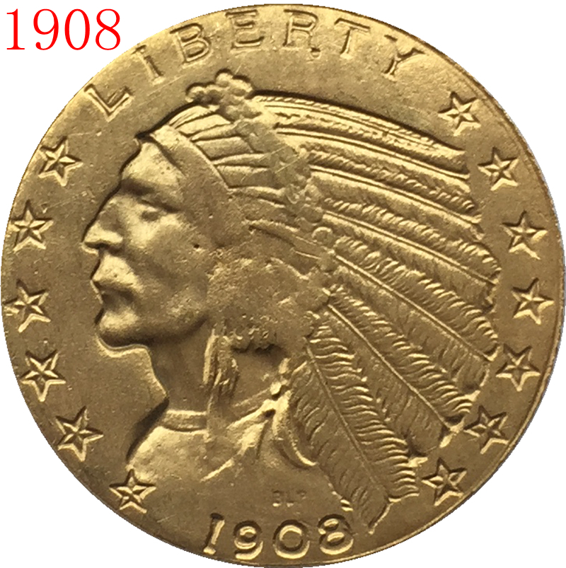24 K Gold Plated 1908 5 Gold Indian Half Eagle Coin Copy