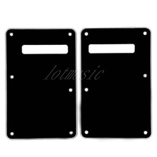 2Pcs Left Hand Black 3Ply Back Plate Tremolo Cavity Cover for Fender ST Guitar Replacement