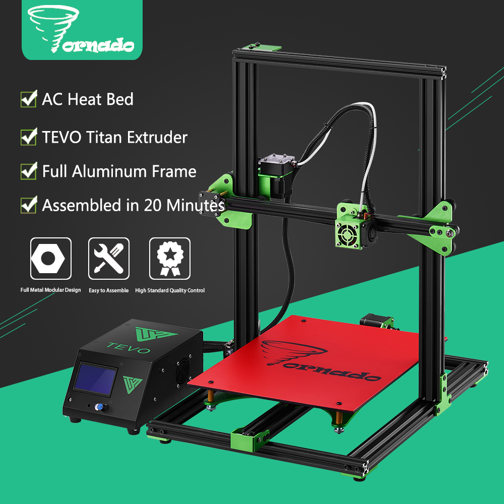 2017 TEVO Tornado 3D Printer Fully Assembled Aluminium Extrusion 3D printers Impresora 3d High Precision Usb With Titan Extruder linear guide rail high precision industrial graded transformers impresora 3d printer diy kit aluminium metal frame e6 with box