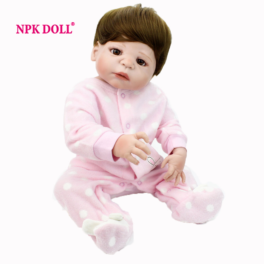 NPKDOLL 22 Inch Doll Reborn Full Body Silicone Reborn Dolls Toys For Girls Lifelike Newborn Baby Doll Children Dolls Toy silicone reborn baby doll toy lifelike reborn baby dolls children birthday christmas gift toys for girls brinquedos with swaddle