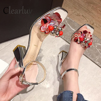 2019 new hot transparent rhinestone women's shoes flash sexy high heels women's matching party high heels Size 34 39 C1213