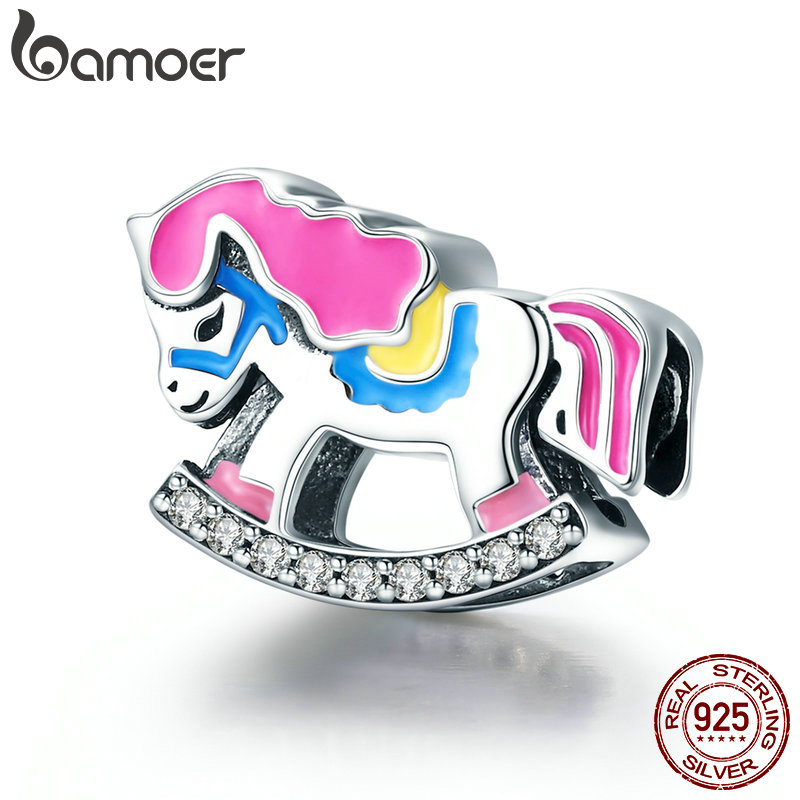 Beads & Jewelry Making Jewelry & Accessories Ingenious Bamoer Genuine 925 Sterling Silver Rocking Horse Color Enamel Charm Beads Fit Women Charm Bracelets Bangles Diy Jewelry Scc743