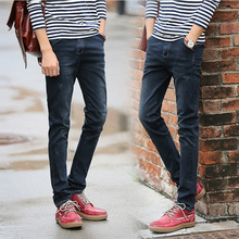 Корейский мужской высокой упругой голубой джинсы мужские эластичные тонкие ноги длинные брюки прилив 908