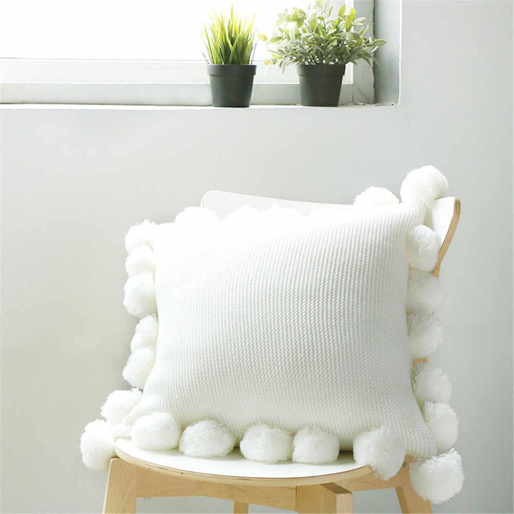 Baru Rajutan Sarung Bantal Warna Murni Bantal Akrilik Bola Rumbai Sofa Kamar Tidur Tekstil Anak Dewasa Kekasih Kecantikan Rumah Dector