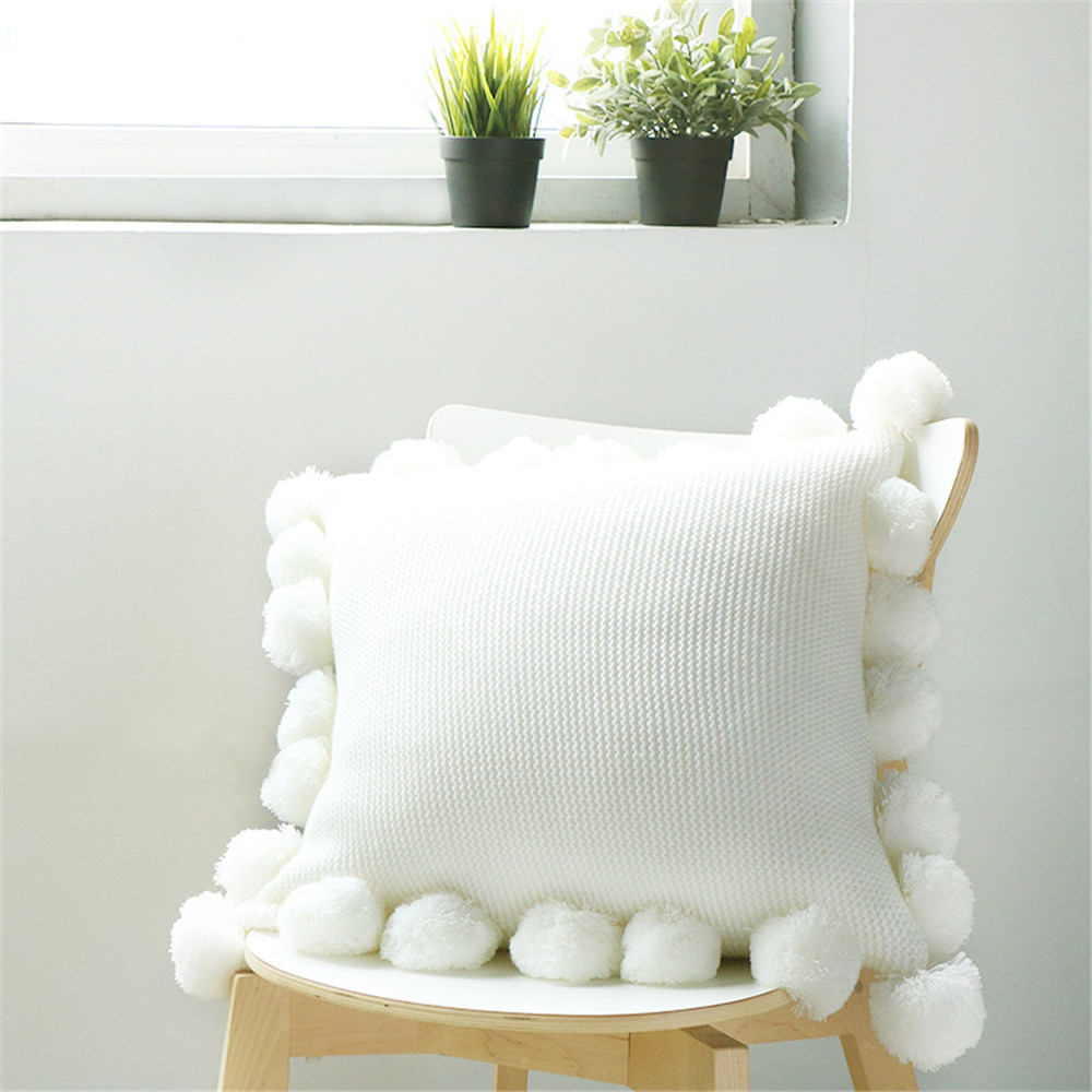 New Knit Cushion Cover Pure Color Pillow Acrylic Ball Tassel Sofa Bed Room Textile Adult Child Lover Beauty Home Dector