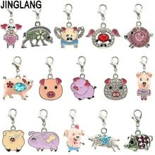 Jewelry Pig-Charms Ornaments Bracelet Necklace Earring Pendant Animal JINGLANG 12pcs