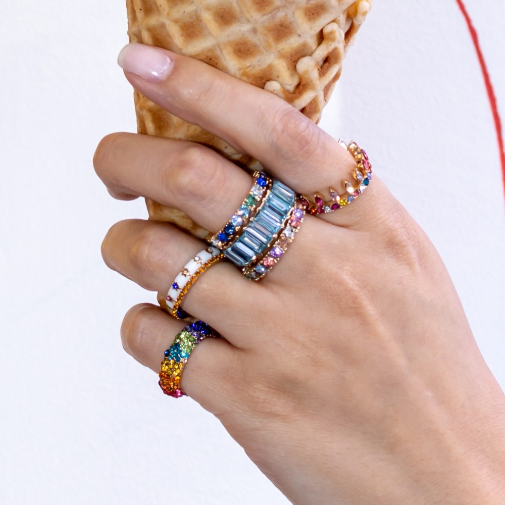 Fashion Brand Crystal Rainbow CZ Engagement 925 silver Rings Women Luxury Rings Wedding Party Summer Holiday Jewelry