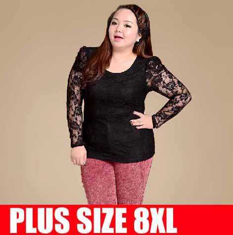super plus size 8xl t shirts women lace long sleeve autumn tops