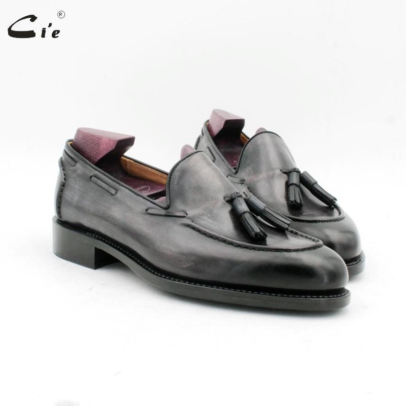Cie dedo do pé redondo mão costura borlas pátina cinza barco sapato goodyear handmade slip-on casuais dos homens couro de bezerro homens loafer187