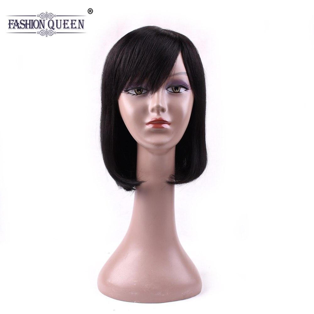 Fashion Queen Human Hair Wigs With Bangs Non Remy Hair For Black Women Straight Natural Color Hair Bob Human Hair Wigs