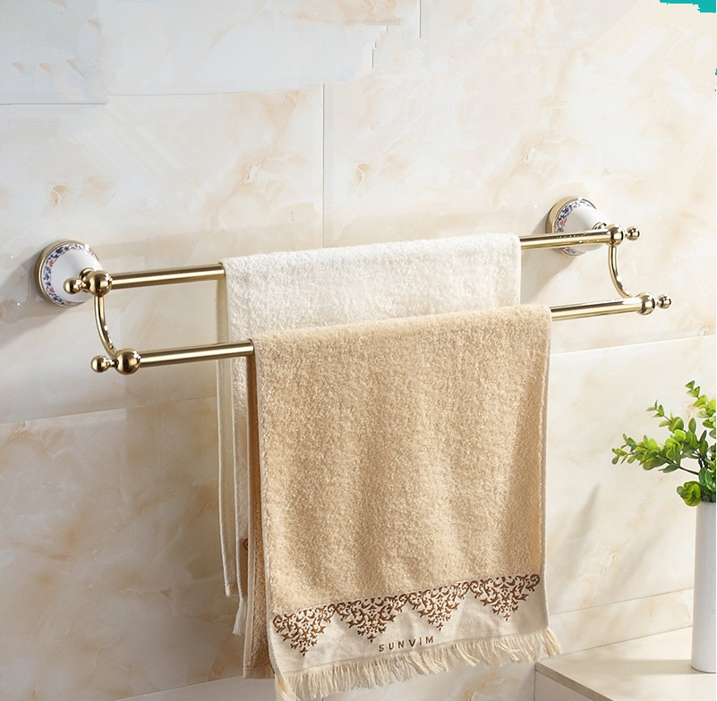 Bathroom Accessories,Quality Stainless steel Gold Finish Double Towel Bar&Towel Rack/ Modern Fashion Ceramics Desige Style стоимость