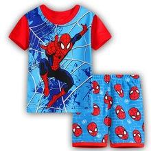 Bébé Garçons Vêtements Ensembles 2017 Nouveau Spiderman Chemise À Manches Courtes + Shorts 2 pcs Costume Pour Enfants D'été Tenues Vêtements coton Pyjamas