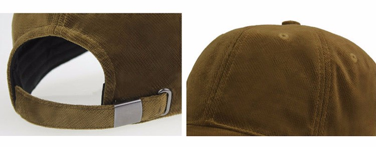 Soft Corduroy Baseball Cap - Buckle and Dome Detail Views