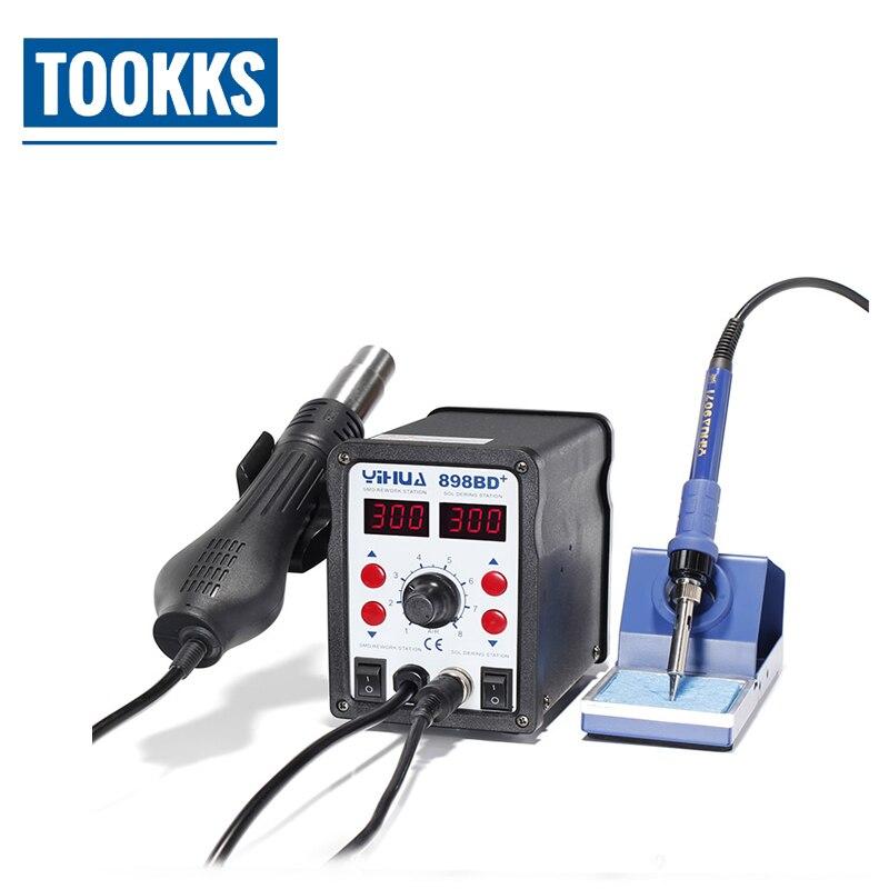 YIHUA 898BD + 2 en 1 affichage numérique Station de dessoudage à souder SMD fer à souder électrique + retravail de pistolet à air chaud