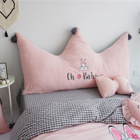 Lovely rabbit 100% Cotton imperial crown Big back large Bedside cute ball backrest Cushion with core For 120/150/180CM Size Bed