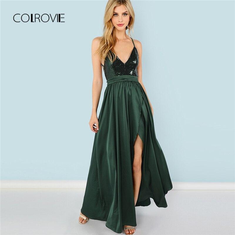 COLROVIE Green Sequin Сплит v-образным вырезом летнее платье новое с высокой талией открытая спина Макси платье сексуальное атласное женское вечерне...