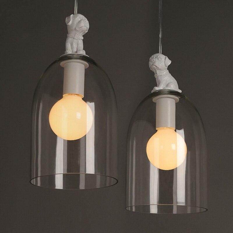 Loft Creative Personality Living Room Pendant Light Little Dog Modelling Glass Study Lamp Restaurant Cafe Lamp
